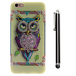Ribbons Owl Pattern TPU Soft Back and A Stylus Touch Pen for iPhone 6 Plus