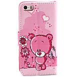 modello dell'orso pu custodia in pelle con chiusura magnetica e slot per schede per iPhone 5 / 5s