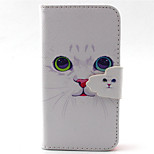 White Cat  Pattern PU Leather Phone Case For iPhone 4/4S
