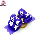 FUN OF PETS® Lovely  Ribbon Style Flower Pattern Rubber Band Hair Bow for Pet Dogs  (Random Color)