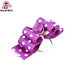 FUN OF PETS® Elegant Ribbon Style Spot Pattern Flower Decorated Rubber Band Hair Bow for Pet Dogs