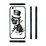 Gentleman Pug Pattern Transparent Silica Gel Edge Back Case for iPhone 6