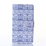 White Snow Elephant Pattern PU Leahter Wallet with Card Slot And Stand Case for LG G3/G4/L90