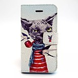 Pipe Dog Pattern PU Leather Material Card Full Body Case for iPhone 5/5S