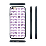 Purple Hearts Pattern Transparent Silicone Rubber Edge Hard Back Case for iPhone 6