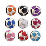 Diy Beads Metal Oil Drip Heart Round Shape Large Hole Beads 5Pcs(Random Color)