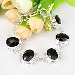 Fire Oval Black Onyx Morganite Peridot Gem .925 Silver Chain Bracelets Bangles For Wedding Party Daily Holiday 1 Pc
