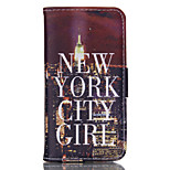 City Lights Pattern PU Material Card Sided Bracket Full Body Case for iPhone 5/5S