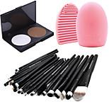 Pro 20pcs Brushes Set Foundation Eyeshadow Eyeliner Lip Brush Tool+15Colors Powder Palette+1PCS Brush Cleaning Tool