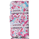 Floral Diamond Pattern PU Material Card Sided Bracket Full Body Case for iPhone 6