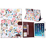 Flower Style PU Leather Case Card Slots & Wallet with Holder for iPad Air 2 (Assorted Colors)