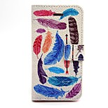 Colorful Feathers Pattern PU Leather Phone Holster For iPhone 5/5S