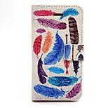 patrón de plumas de colores pu funda de cuero del teléfono para el iphone 5 / 5s