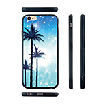 Three Palm Trees Pattern Transparent Silicone Rubber Edge Hard Back Case for iPhone 6