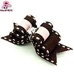 FUN OF PETS® Elegant Ribbon Style Spot Pattern Rhinestone  Decorated Rubber Band Hair Bow for Pet Dogs  (Random Color)