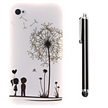 Under the Dandelion of Lovers Pattern TPU Soft Back and A Stylus Touch Pen for iPhone 4/4S
