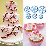 6Pcs Plum Flower Sugarcraft Cake Cutter Biscuit Decorating Fondant Plunger Cutter