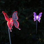 Pack of 2 Solar Color-Changing Butterfly Garden Stake Light Pathway Walkway