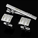 Personalized Gift Men's Engravable Silver Plain Laser Stripes Pattern Cufflinks and Tie Bar Clip Clasp(1 Set)