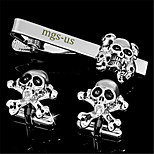 Personalized Gift Men's Engravable Silver Plain Skull Pattern Cufflinks and Tie Bar Clip Clasp(1 Set)