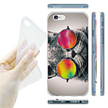 Cat with Color Glasses Pattern TPU Soft Back Case for iPhone 6