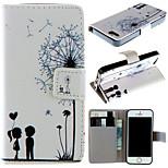 patrón de diente de león pareja con bolso de la tarjeta caso de cuerpo completo para iphone 5 5s
