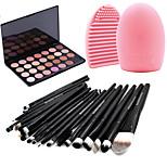 20pcs Brushes Set Eyeshadow Eyeliner Brush Tool+28Colors Neutral Nude Warm Eyeshadow Palette +1PCS Brush Cleaning Tool