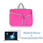 Zipper Closure Flap Laptop Sleeve Bag and HD Screen Flim for New Macbook Retina 12 inch (Assorted Colors)