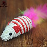 FUN OF PETS® Lovely Stripe Sisal Mouse Shaped Colourful Feather Tail Decorated Chewing Toy for Pet Cats