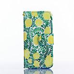 patrón de limón pu tarjeta de material de cuero caso de cuerpo completo para iphone 5 / 5s