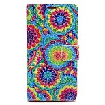Painted Disc Pattern PU Leather Full Body Case with Card Slot and Stand for iPhone 6