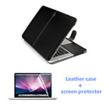 Top Quality Leather Flip Magnet Full Body Case and HD Screen Protector for Macbook Air 13.3