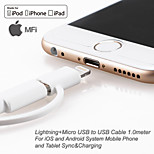 Apple MFi Certified Lightning+Micro USB Data Sync and Charger USB Cable for iphone 6/5 iOS and Android (100cm)