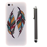 Color Double Feather Pattern TPU Soft Back and A Stylus Touch Pen for iPhone 5/5S