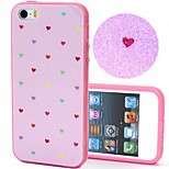 2-in-1 Bling Bling Pink Coloful Heart Pattern PC Back Cover with PC Bumper Shockproof Hard Case for iPhone 5G/5S