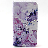 Flowers  Pattern PU Leather Phone Case For iPhone 4/4S