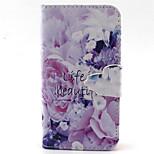 Blumenmuster PU-Leder-Tasche für iPhone 4 / 4S