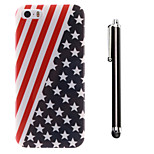 The Stars Stripes Pattern TPU Soft Back and A Stylus Touch Pen for iPhone 5/5S