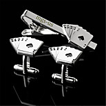 Personalized Gift Men's Engravable Silver Plain Spade Royal Flush Poker Pattern Cufflinks and Tie Bar Clip Clasp(1 Set)