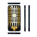 Microphone Pattern Silicone Rubber Edge Hard Back Case for iPhone 6