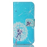 Fashion Design COCO FUN® Blue Bottom Dandelion Pattern PU Full Body Leather Wallet Flip Case Cover for iPhone 5/5S