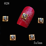 5*5mm 10pcs/lot Golden Square Alloy 3D Nail Art with Clear Rhinestones Decorations Nail Design Accessories