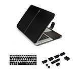 Business Leather Hasp bag with Keyboard Cover Flim and Silicone Dust Plug for Macbook Pro 15.4