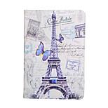 삼성 갤럭시 탭에 대한 보라색 나비 에펠 탑 지갑 보호 슬리브 9.7 (모듬 색상)