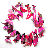 Pack of 12 PCs Wall Stickers, Modern City Life Adorable PVC Stereo Rose Butterfly Wall Stickers