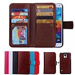 은하 S6 / S6 가장자리 / S5 / S4 (모듬 된 색상)에 대한 PU 가죽 특별한 디자인 몸 전체의 경우 분리 (9) 카드 지갑