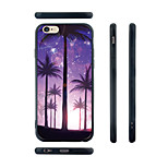 Purple Palm Trees Pattern Transparent Silica Gel Edge Back Case for iPhone 6