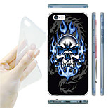 Blue Fire Skull Pattern TPU Soft Back Case for iPhone 6/6S