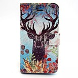 Deer Pattern PU Leather Material Card Full Body Case for iPhone 5/5S