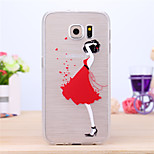 Red Skirt Beautiful Girl Pattern TPU Case for Samsung Galaxy S6